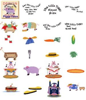 Cactus Punch SIG70 Piggy Tales by Cheryl Jukich Embroidery Disk