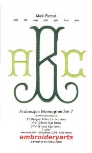 Embroideryarts Arabesque Monogram Set 7 XL Multi-Formattted CD