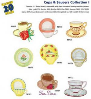 Great Notions 1142 Cups & Saucers I Embroidery Multi-Formatted CD