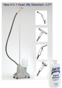 Jiffy J-2i Garment Fabric Upholstery Steamer with 4 Interchange Steam Heads +Bonus $10 Essential Boiler Tank Cleaner Solution.