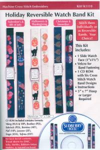 """Sudberry House K1110 X-Stitch Holiday CD, Watch Face, 18"""" Grosgrain, Snaps"""