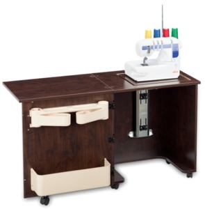 9760: Sylvia Model 620L Serger Machine Compact Cabinet, Air Lift Platform. Shown in Brown Pearwood Serger Not Included