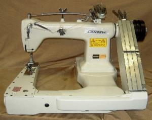 "Consew 345-3 Feed Off The Arm 2-3 Needle Chainstitch Lap Seam Felling Ind Sewing Machine, 6SPI, 3600SPM, 5/16"" FootLift, Space Saver Servo Power Stand"
