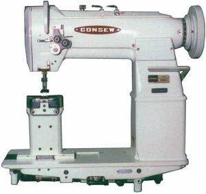 "1439: Consew Model 389RB-2, 7""H Post Bed, Walking Foot Double Needle Feed Sewing Machine/Stand"