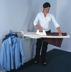 "LifeStyle OSU-01 Full Size On Wall Mount Ironing Center, 44x15"" Swivel Board, Iron Rest, Garment Rack"
