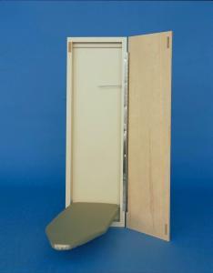 "Ironaway Economy SMM421 42"" Handi Press Wall Mount Drop Down Ironing Board, Ventilated Metal Mesh Top*, Cover Pad, Birch Wood Door, 48"" Piano Hinge"