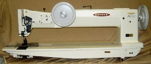 "1464: Consew 745R-10"" HD 1/4"" Double Needle Feed, Walking Foot Sewing Machine/KD Stand"