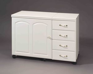 """Fashion Sewing Cabinets  4700 Sewing Machine Cabinet 42x20x30"""" Casters, Max Storage Credenza, Electric Lift Platform 24x12.5"""" Opening, Notions Tray"""
