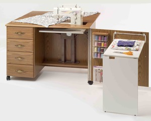 Fashion Sewing Cabinets  4600 Sewing Machine Credenza Cabinet, Maximum Storage, Limited Space. Electric Lift Platform, Drawer Glides, Filler Insert