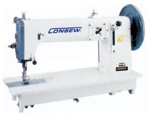 "Consew 757R Extra Heavy Duty 16"" Longarm Industrial Sewing Machine, 1"" High 25.4mm Foot Lift, 10mm Length, Large Hook, Bobbin Wind, Big Wheel, 1200SPM"