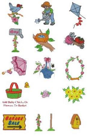 Down Home Dreams 148 Welcome Spring Embroidery Designs Floppy Disk