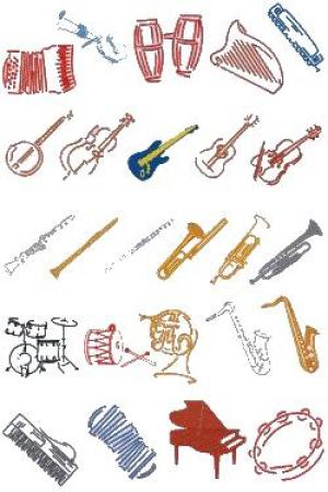 Down Home Dreams 151 Musical Instruments Embroidery Designs Floppy Disk