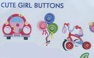 Smartneedle Cute Girl Buttons Collection 4X4 Embroidery Designs Multi-Formatted CD