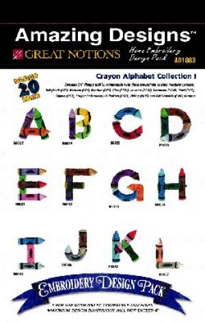 Great Notions1083, Crayon Alphabet, Embroidery Designs, Multi-Format CD