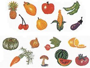 Elna MC13 Fruits and Vegetables Envision Embroidery Card