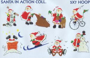 Smartneedle Santa In Action Collection Applique Collection 5X7 Embroidery Designs Multi-Formatted CD