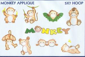 Smartneedle Monkey Applique Collection 5X7 Embroidery Designs Multi-Formatted CD