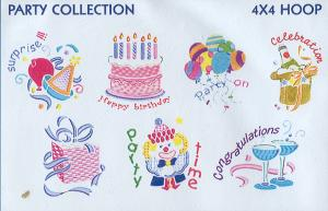 Smartneedle Party Collection 4X4 Embroidery Designs Multi-Formatted CD