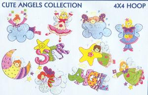Smartneedle Cute Angels Collection 4X4 Embroidery Designs Multi-Formatted CD