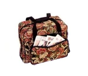 """Hemline MR4660 Soft Tote Bag Carrying Case 17x8x13"""" Zippered, Side Pocket, Tapestry Fabric, for Portable Sewing Machines"""