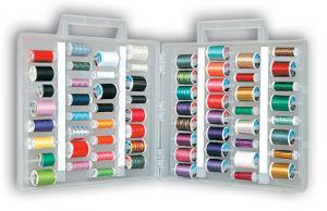 Sulky 886-02 Universal Slimline Thread Storage Box, 18 Popular Sulky 30 Weight Cotton Emb Threads Kit. 500 Yards  KING SIZE Spools of Thread, 64 Slots