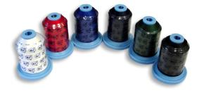 Exquisite Poly Embroidery Thread 40wt Assorted Colors, 6 of 1100 Yard Cones, Snap Spools, Fade Resistant