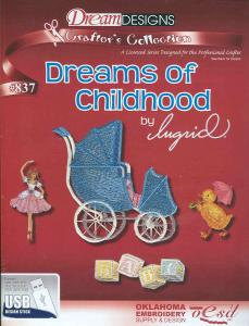 OESD # 837 Dreams Of Childhood Designs Preprogrammed By Ingrid USB Stick, in ART, PES, PCS, DST, HUS, JEF, XXX, SEW, EXP Formats