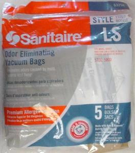 Sanitaire, 63256-10, 5 Pack, Style LS, Arm & Hammer, Vacuum Cleaner Bags, Odor Eliminating, Sanitaire 63256-10, 5Pk Style LS Arm&Hammer Vacuum Cleaner Bags for 5800, 5815, 5713, Pemium Allergen Filtration for Oders from Mold Bacteria & Fungi