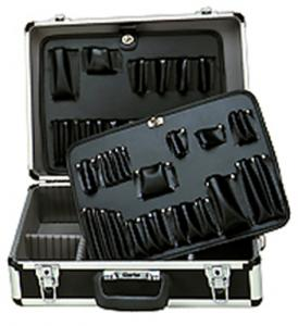 "Clarke TB2000A Professional Anodized Aluminum Tool Case Black 18.75x14.25x6.5"" for Computer, Copier, Electronics Techs, Travel, Black"