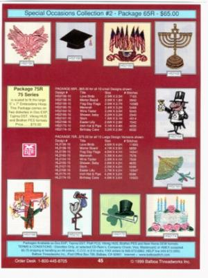Balboa Threadworks 65r Special Occasions 2 4x4 Embroidery Disks At