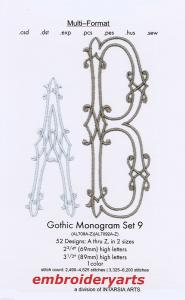 Embroideryarts Gothic Monogram Set 9 XL Embroidery Multi-Formatted CD