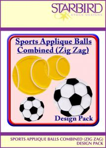 Starbird Embroidery Designs Sports Applique Balls Combined (Z. Z.) Design Pack