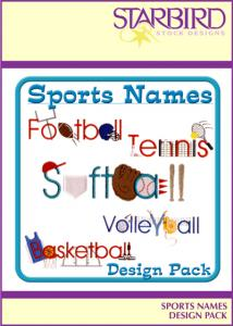 Starbird Embroidery Designs Sports Names Design Pack