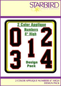 """Starbird Embroidery Designs 2 Color Appliqué Numbers 8"""" High"""