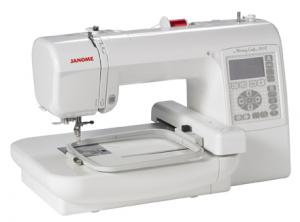 "Janome MC200E 5.5x5.5in Embroidery Machine 4x4""+89% USB jef Format Port, 73 Designs, 18 Borders, 3 Fonts, Edit Size Color and Format Software Download"