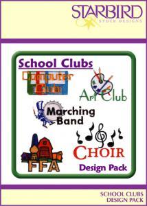 Starbird Embroidery Designs School Clubs Design Pack