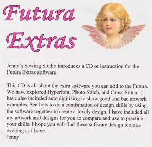Jenny's Sewing Studio, Singer Futura Extras CD: Hyperfont, Photo Stitch, Cross Stitch, Digitizing Software Lessons