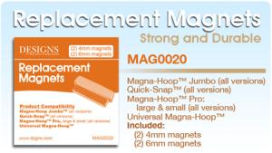 Magna Hoop, Jumbo, Replacement, Magnets, (2) 4mm Magnets, (2) 6mm, Magnets, for Brother, NV4500, 4000, 2800, 2500, 1500, Babylock, Bernina, Artista, Janome, Giga