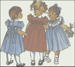 Childrens Corner CC10 Lee Basic Yoke Dress Sewing Pattern, Sizes 5-6, Smocking Design Included