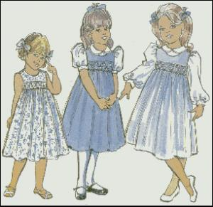 Childrens Corner CC013 Amy Smocked Jumper Dress Sewing Pattern Size 5-8, Smocking design is included.