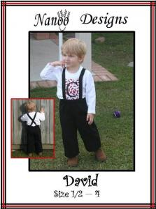 Nanoo Designs David Pants Pattern, Sizes 1/2 - 4, instructions with color pictures illustrating each step.