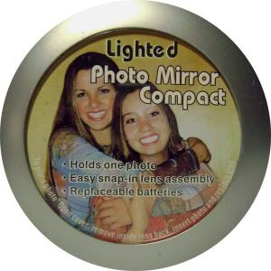 Acrylic Custom Photo or Kiwi Paper Lighted Compact Mirror Metal Frame