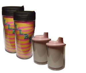 Kiwi 2 Acrylic Custom Photo or Kiwi Paper Insert Cups & 2 Sippy Cups