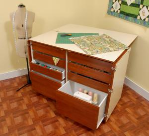 Kangaroo Kabinets K7905 Dingo II Sew Craft Storage Cabinet 9 Drawers Teak