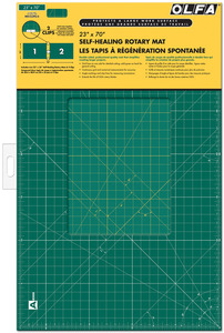 """Olfa RM CLIPS/2, 23x70"""" 2 Piece Continuous Grid Rotary Mats Set Green, 1.5mm Self Healing, Double Side Use, Store Flat, Yellow Grid Lines Other Side"""