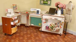 "Kangaroo Kabinets K8605 Aussie Sewing Machine Cabinet Teak, 3 Position Air Lift Platform, 31.5' Surface, 99-½""W x 45-½""L x 29""H"