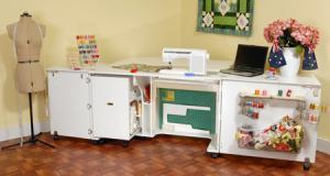 17627: Kangaroo Kabinet K8611 Aussie Sewing Machine Cabinet White Ash 31.5' Sq Ft*