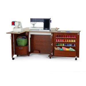 17628: Kangaroo K8405 Wallaby II Sewing Cabinet Teak, EZ Air Lift, Quilt Leaf, Serger Shelf