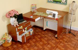 Kangaroo Teak K8805 Kangaroo Sewing Machine Cabinet +K7805 Joey Storage Caddy, 3 Position Air Lift, Casters, RTA