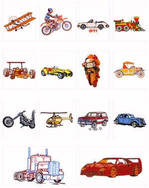 Pfaff No. 8 Vehicles Embroidery Card